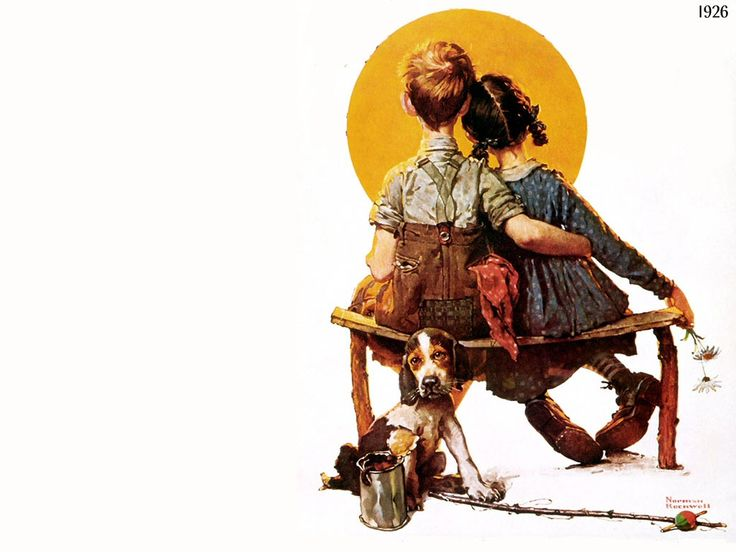 Norman Rockwell: Brunettes Girls, Black Kitty, Benches, Norman Rockwell Young, Artists Normanrockwel, Beagles, Sweet Love, Puppies Love, Norman Rockwell 3