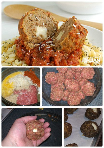 Cheesy Mozzarella Stuffed Meatballs - Easy Recipe with Step By Step Directions @SlowRoasted