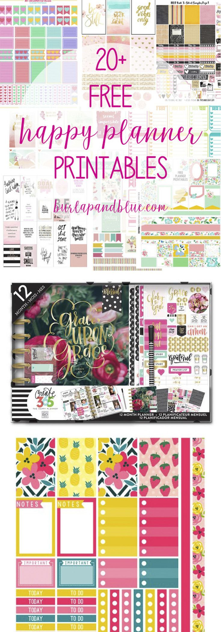 Over 20 free Happy Planner printables! The Happy Planner is the perfect way to get organized in the New Year!