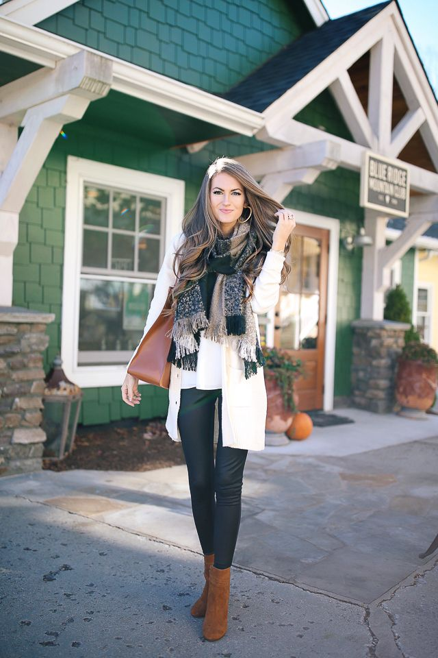Sole Society plaid scarf  c/o // white tank  // cream cardigan   similar faux leather leggings HERE  & HERE  // Sole...