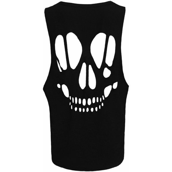 New Womens Skull Open Back Cut Out Ladies Sleeveless T-Shirt Vest Top... ($4.95) ❤ liked on Polyvore featuring tops, black singlet, skull tank, open back tank top, cut-out tops and black tank