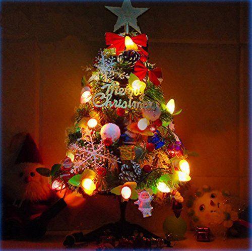 Fanessy Sapin de Noël artificiel Lumineux en Fibre Optique 50cm Vert Arbre de Noel de Noel Decoration interieure vacances