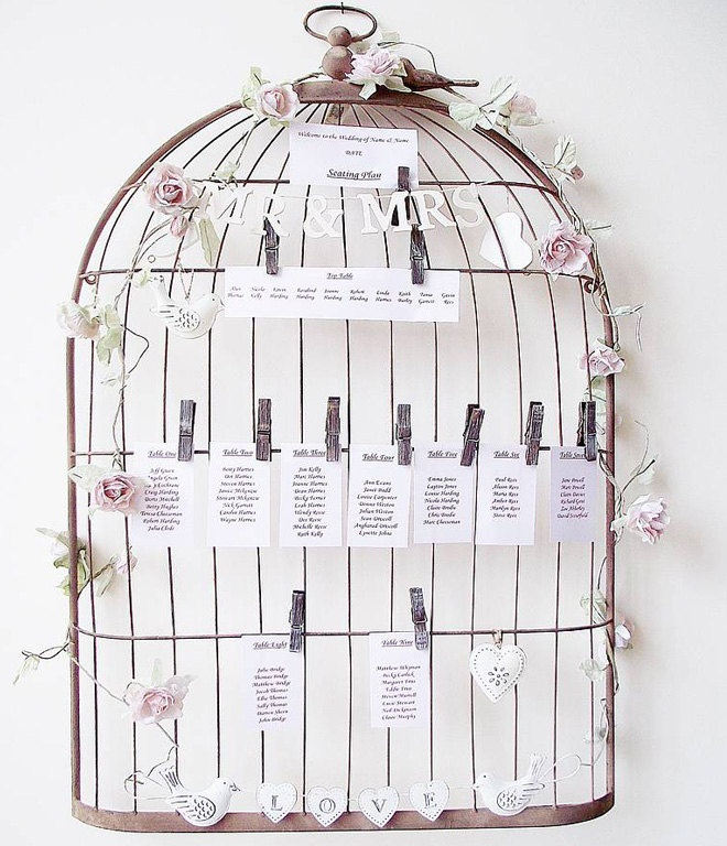 Custom Rustic Vintage Birdcage Chart Seating Chart Wedding Escort Seating. $65.00, via Etsy.