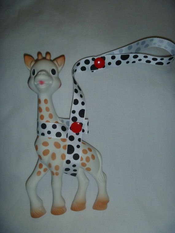 Black & White Sophie the Giraffe Leash/Toy Saver Strap