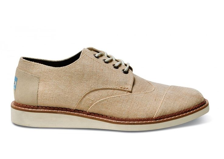 Natural Burlap Men's Brogues side! Oh toms! Talk about stepping your game up. Love these shoes.