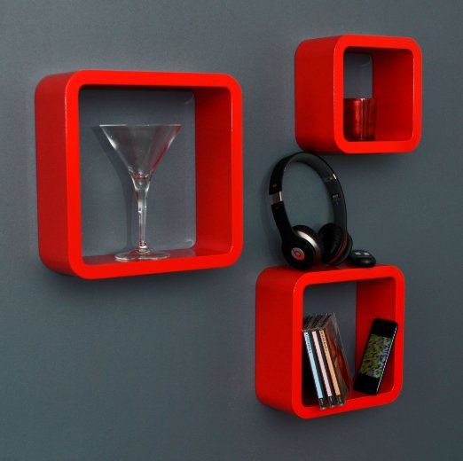 Set of 3 Retro Design Lounge Cube Shelves in Red in Different Sizes with Round Corners: Amazon.co.uk: Kitchen & Home