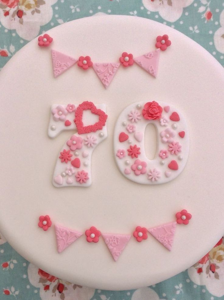 The number 7 measures 6cm wide x 7.5cm length and the number O measures 5.5cm x 7.5cm. Bunting and flower decorations are included. All decorations are made from a combination of fondant and flower paste icing. | eBay!