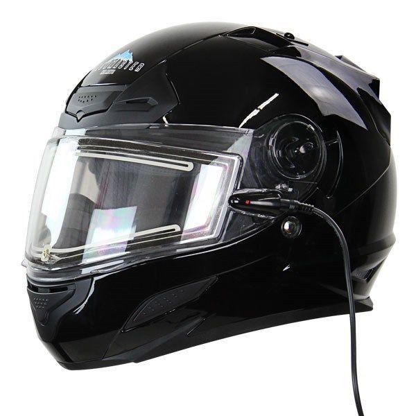 SnowMaster TS-44 Black Dual Visor Full Face Heated Shield Snowmobile Helmet #SnowMaster #SnowMobileHelmet