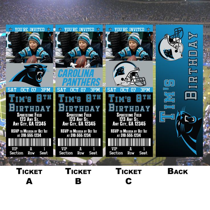 Excited to share the latest addition to my #etsy shop: Carolina Panters Ticket Invitation http://etsy.me/2DH380D #papergoods #birthday #birthdayinvitation #birthdayinvite #footballinvitation #nflinvite #footballinvite #carolinapanthers #panthersinvite