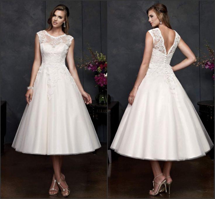 mid calf wedding dresses with sleeves | ELegant A Line Mid Length Wedding Dresses with Cap Sleeves See Through ...