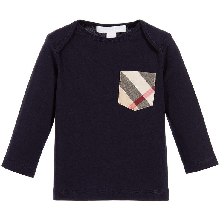Burberry Baby Boys Navy Blue 'Callum' Top with Chest Pocket at Childrensalon.com