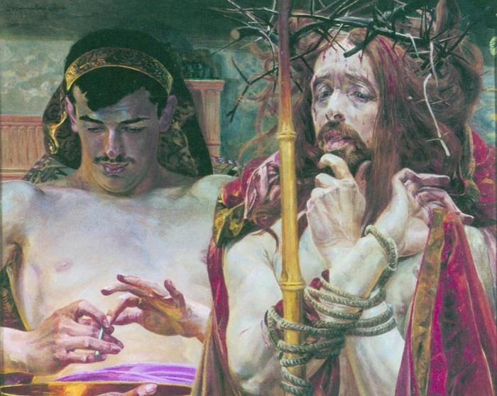"""2005.09 // Jacek Malczewski """"Chrystus przed Piłatem"""", olej na tekturze, 1910, Galeria Obrazów, Lwów"""