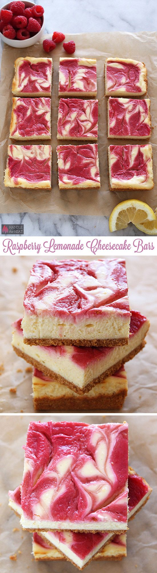 Raspberry Lemonade Cheesecake Bars - pretty summer dessert!