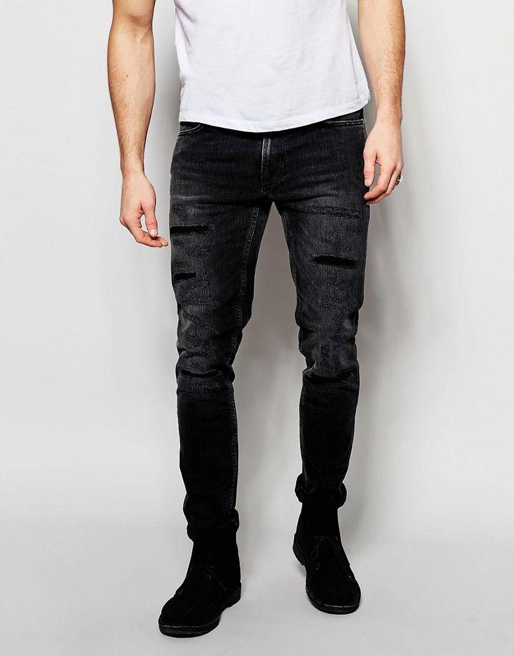 Image 1 ofNudie Jeans Lean Dean Slim Tapered Fit Deep Black Worn Distressed