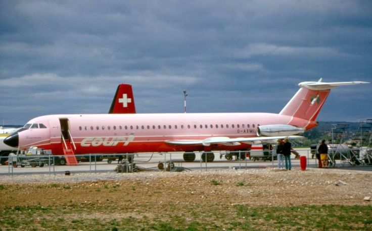 BAC 1-11 Reg. No. G-AXMI of British operator COURT LINE pic taken at Basle Airport, Switzerland in 1970.
