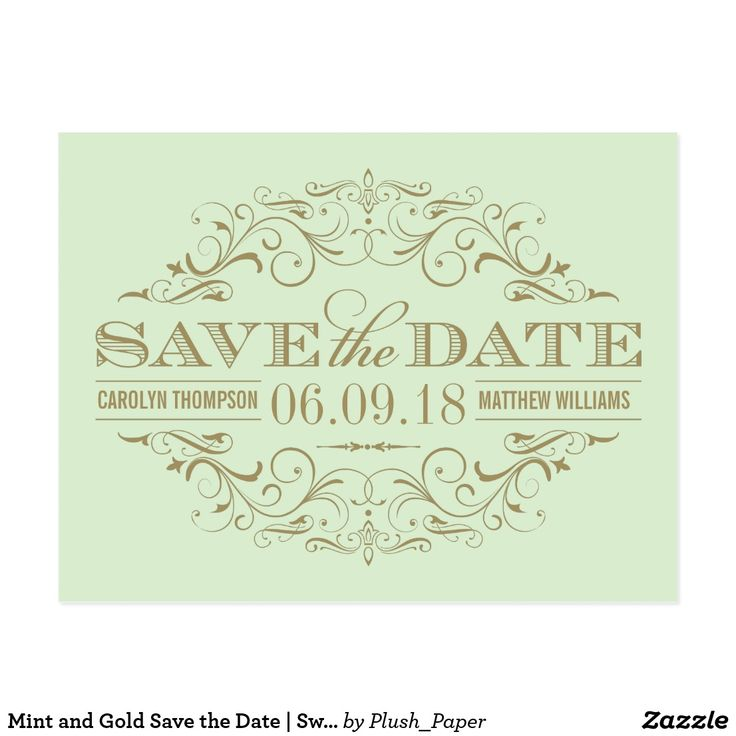 Mint and Gold Save the Date | Swirl and Flourish