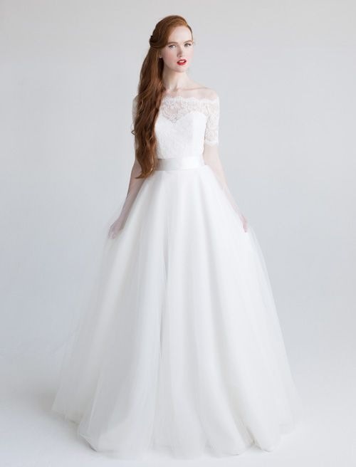 Beautiful princess ball gown! In love with the lace top, satin now, and tulle skirt. 'Jennifer' Aria Wedding Dress