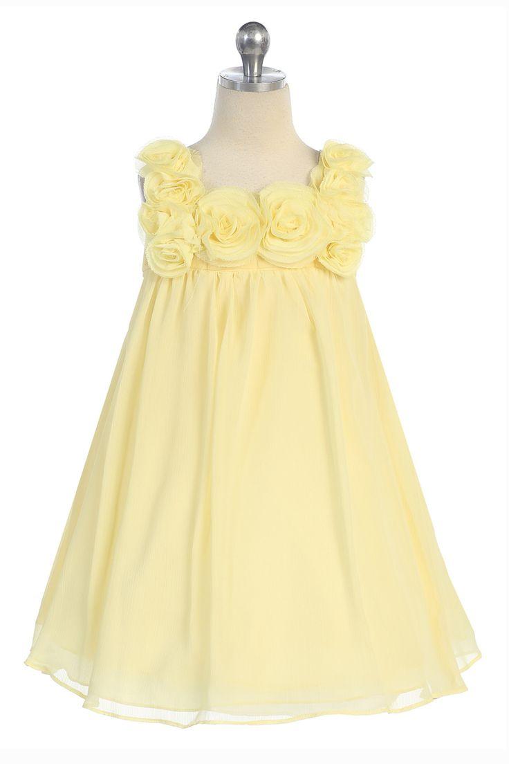 Yellow Chiffon Short Flower Girl Dress CC-611-YL $45.95 on www.GirlsDressLine.Com