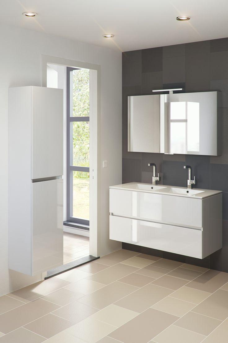 Bruynzeel miko 120 cm glans wit badmeubel badkamer for Cabinet salle de bain