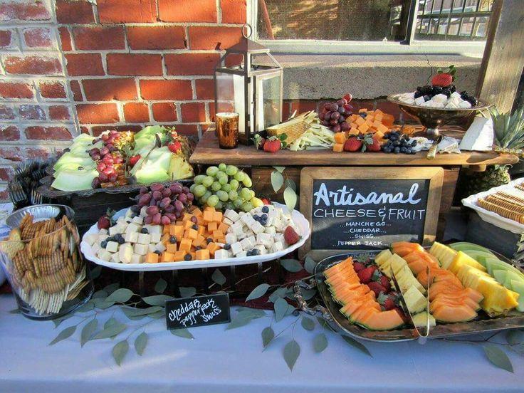Rustic fall wedding catering display