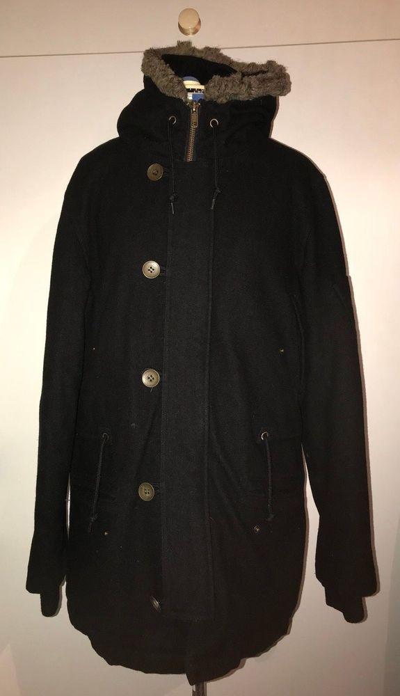 Only £39.99!! TOPMAN Lovely Man's Black Wool Coat Size Large 40-42 inch chest #Topman #FleeceJackets
