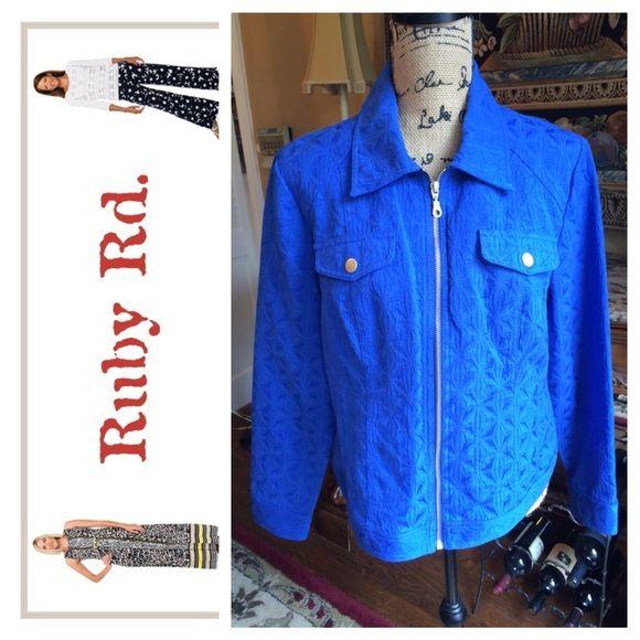 Ruby Road cute blue Jean jacket Size 14.  Cute patterned royal blue jean jacket.  Gold trim. Ruby Road Jackets & Coats
