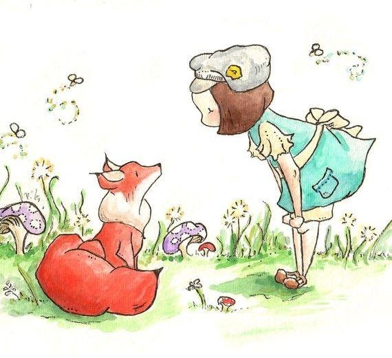 fox & girl print: