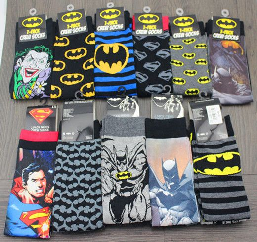 24pcs=12pair NEW men cartoon mixed style batman superman joker USA superhero movie Film Fans men Classical Socks 24pcs/lot