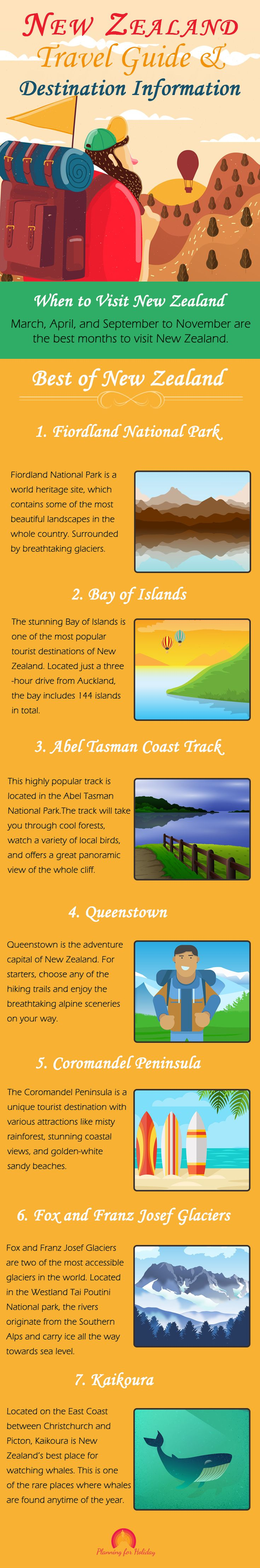 New Zealand Travel Guide and Destination Information. Adventure lovers will have their paradise in New Zealand. All of its popular attractions like hiking, skiing, caving, rafting, skydiving, bungy jumping, etc. are aimed at getting you outside and having some lifetime experiences.