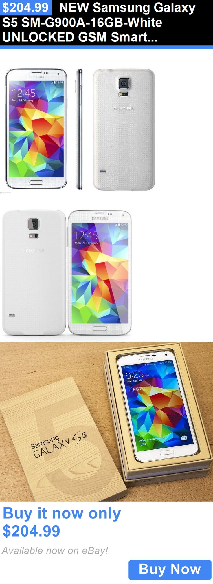 cell phones: New Samsung Galaxy S5 Sm-G900a-16Gb-White Unlocked Gsm Smartphone Atandt Tmobile BUY IT NOW ONLY: $204.99