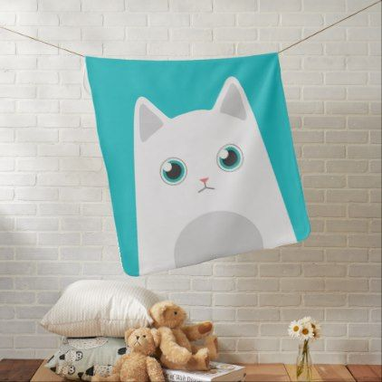 White Cat Illustration Stroller Blanket - animal gift ideas animals and pets diy customize
