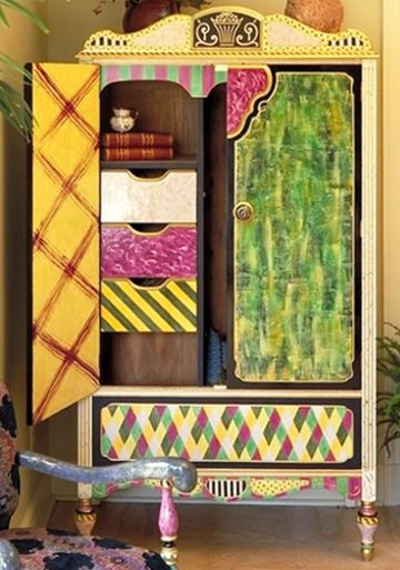 Hand Painted Armoire By Suzanne Fitch