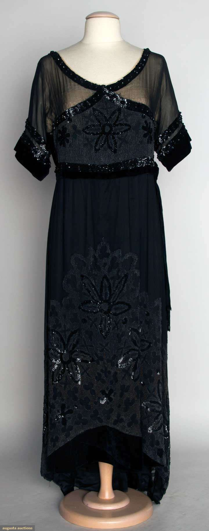 BLACK VELVET EVENING GOWN, c. 1912 1-piece, sheer chiffon over lace bodice, short sleeves, embellished w/ jet beads & sequins