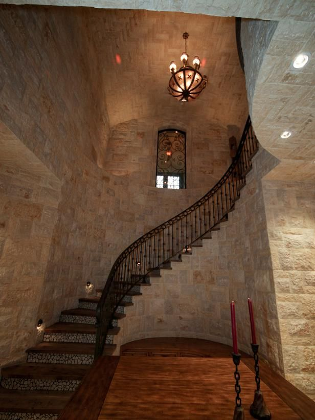 Castle-Like Staircase in Luxury Spaces: Take a Vacation From Your Family Vacation from HGTV