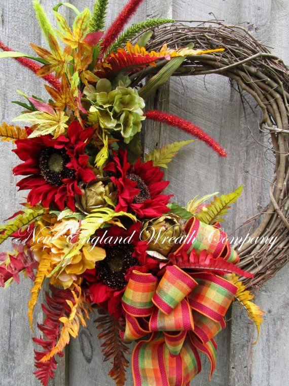 FALL SALE Fall Wreath Autumn Wreaths Sunflower by NewEnglandWreath