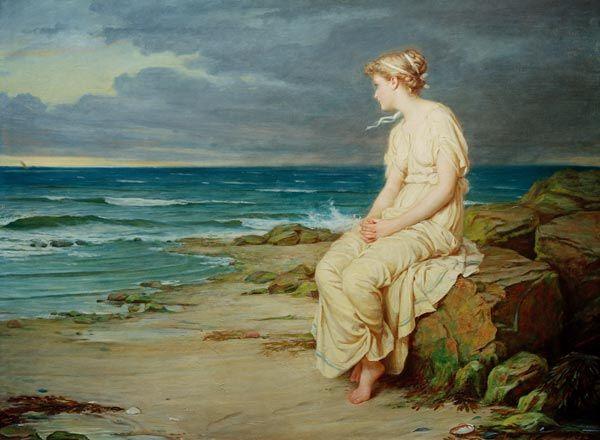 """""""Shakespeare/Tempest/Waterhouse"""" von John William Waterhouse (geboren am 6. April 1849 in Rom, gestorben am 10. Februar 1917 in London), britischer Maler."""