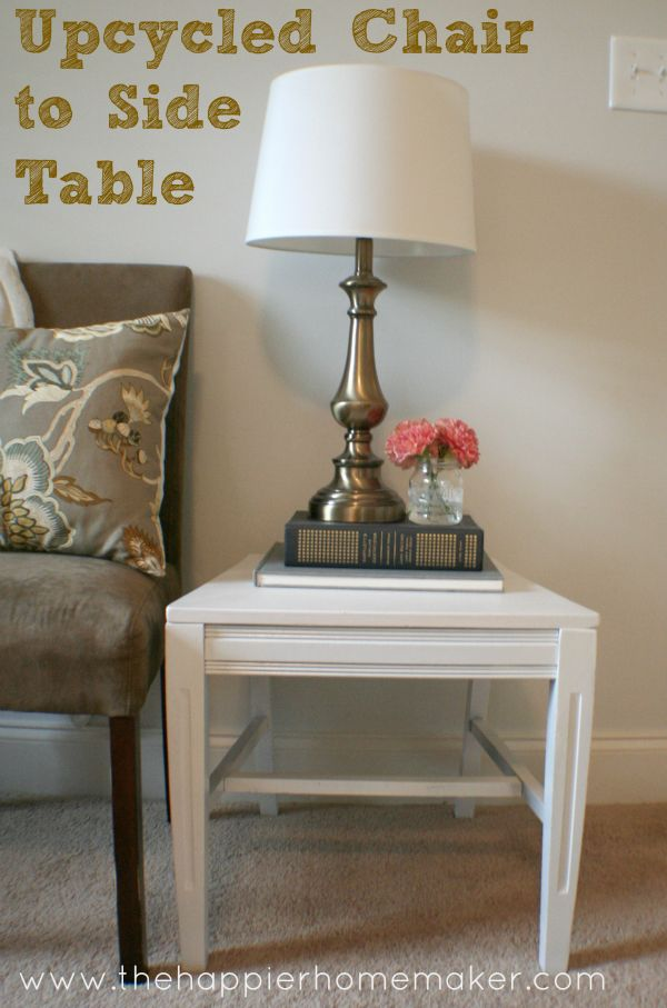 Upcycle an old broken chair into a stylish side table!  The Happier Homemaker