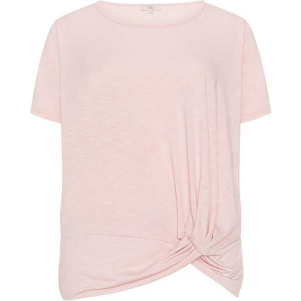 Amber and Vanilla Pink Plus Size Jersey knot detail top ($47) ❤ liked on Polyvore featuring tops, t-shirts, pink, plus size, womens plus tops, pink plus size tops, stretch t shirt, pink jersey and round neck t shirts