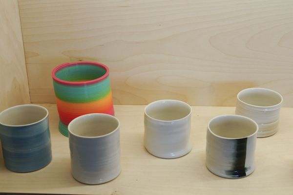 """The ceramic cups inspired by the toy """"Slinky"""". Made by Iva Kukuric."""