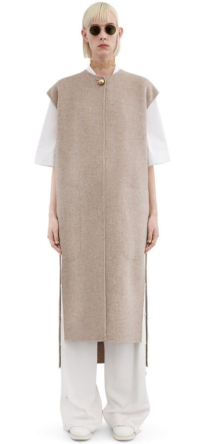 Acne Studios Vento beige melange sleeveless coat in a soft double cashmere blend #AcneStudios