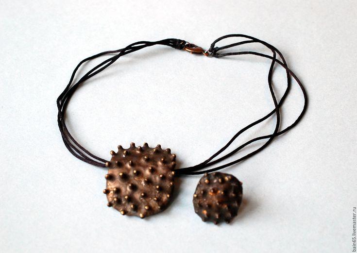 """Купить """"Старинная бронза"""".Кольцо и кулон керамические. - комбинированный, керамические украшения, украшения из керамики"""