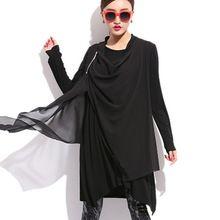 Düzensiz Mini Elbise Büyük Boy Bahar Elbiseler Büyük Boy 3XL Kadınlar Ruffles Şifon Örme Vestidos Gevşek Siyah XL Artı Boyutu(China (Mainland))