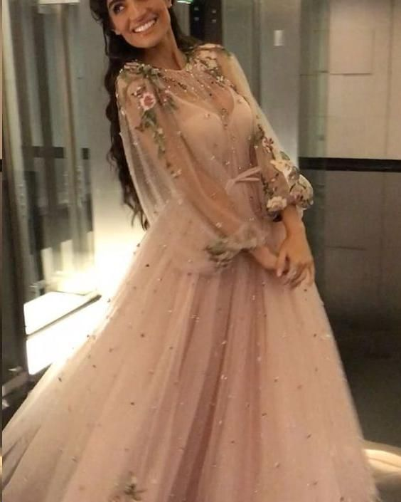 Beading Long Sleeve Prom Dresses Floor-length Sparkly Beading Long Prom Dress JKL1241 1