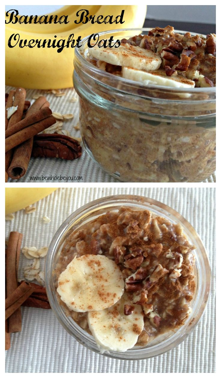 Banana Bread Overnight Oats. No refined sugar. Quick and easy breakfast the whole family will love!