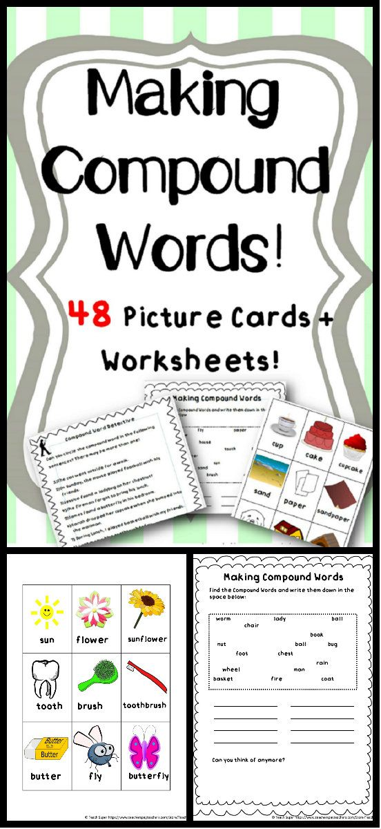 This product contains two sets / lists of compound word picture cards and bonus worksheets / activities. There are 8 compound words in each set. There are 3 cards for each compound word. 2 cards are for each part of the word and the other card is the complete word.