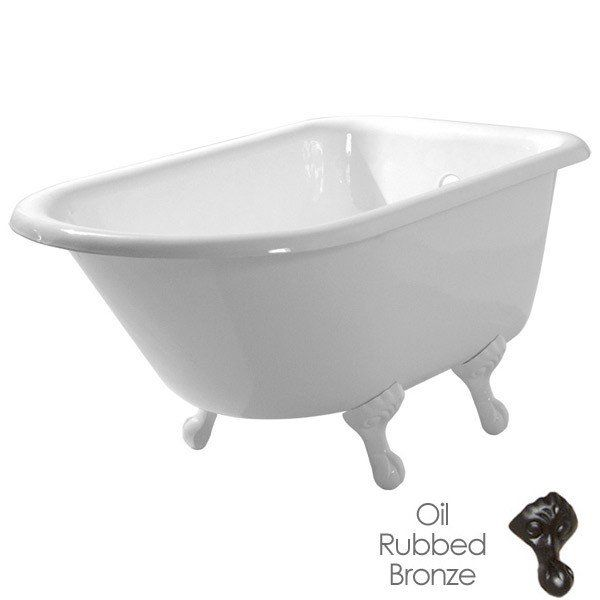 Randolph Morris 54 Inch Cast Iron Classic Clawfoot Tub - No Drillings - Ball and Claw Feet