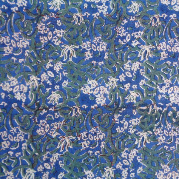 Indian Hand Block Printed 100% Cotton 60 Sheeting Fabric  Five Yard fabric 8939
