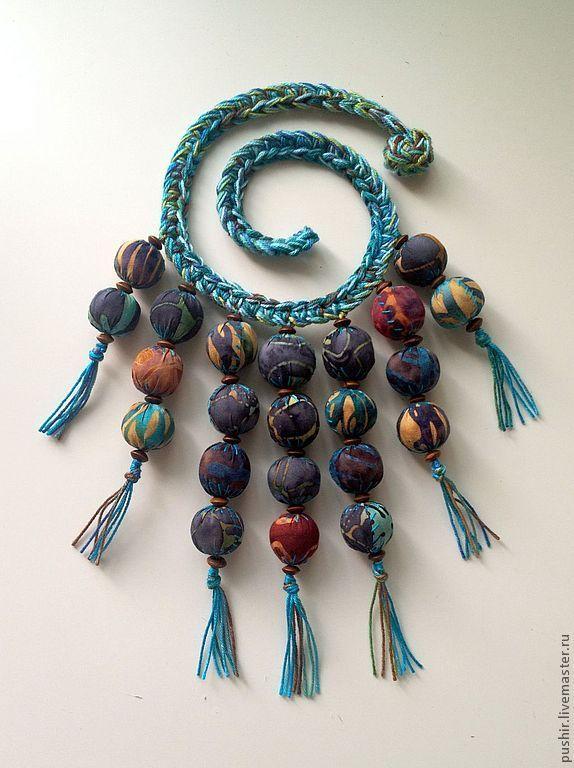 """Купить Ожерелье """"Голубые Гавайи"""" - синий, бирюзовый, ожерелье, войлочные бусы, Батик, крючком"""