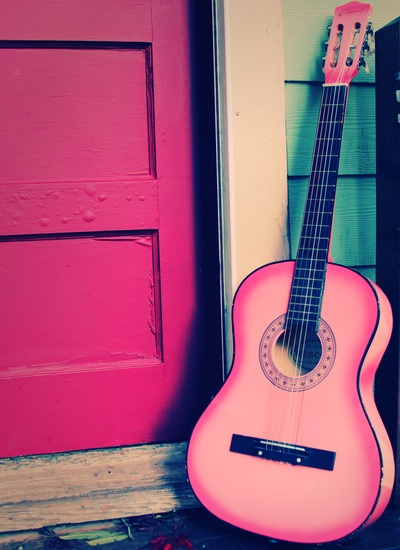 My goal is to learn how to play. And I do believe once I do, I am going to need this pink guitar...