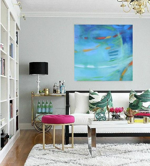Turquoise Abstract 24x24 Giclee Print Modern Loft Wall Art Contemporary Minimalist Canvas Soft Calming Art Large Living Room Color Schemes Room Colors Decor